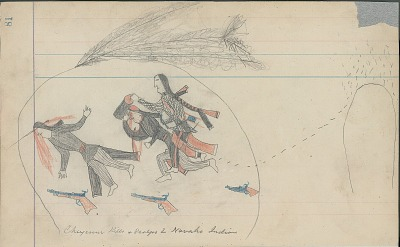 Anonymous Cheyenne drawing of Cheyenne killing and scalping two Navahos, ca. 1880s