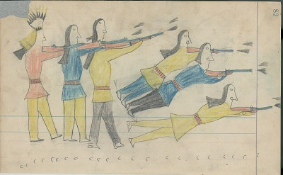 Anonymous Cheyenne drawing of Old Whirlwind, shown with shield and identified by name glyph, charging on Shawnee, Sauk, and Fox warriors on the Solomon River, ca. 1880s