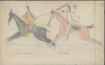Anonymous Cheyenne drawing of Cheyenne counting coup with lance on Shoshoni woman, ca. 1880s