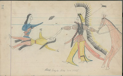Anonymous Cheyenne drawing of Bald Eagle, identified by name glyph, killing two Utes, ca. 1880s