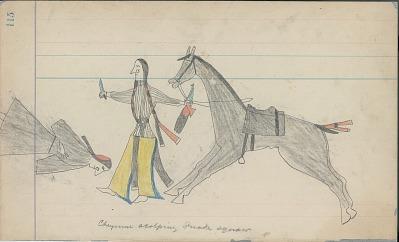 Anonymous Cheyenne drawing of a Cheyenne scalping a Shoshoni woman, ca. 1880s