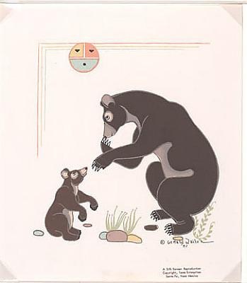 Bear and Cub 1951 Silkscreen