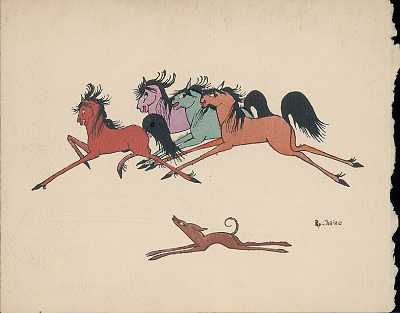 Four Horses and Dog Running n.d. Silkscreen