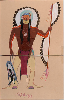 Indian Holding Spear and Shield 1939 Painting