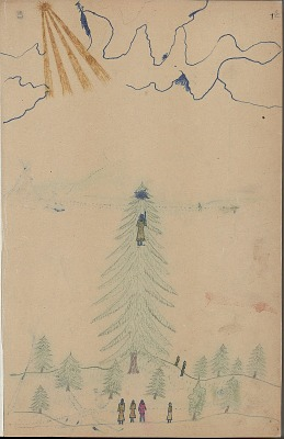 Anonymous Kiowa drawing of episode from the Split Boys stories where the Sun entices a Kiowa girl to climb up a tree, n.d