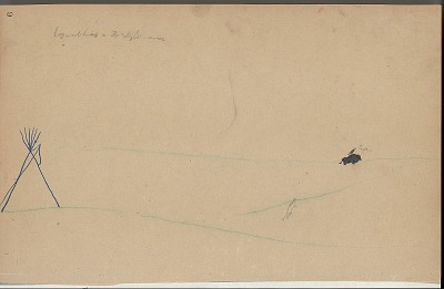 Anonymous Kiowa drawing of human figure near a tipi watching an eagle sitting atop a buffalo, n.d