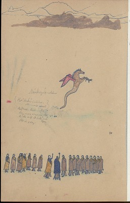 Anonymous Kiowa drawing of story of Red Horse, the cyclone, n.d
