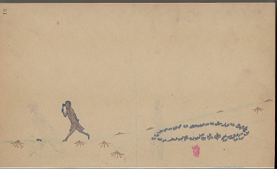 Anonymous Kiowa drawing of story of Saynday and the Prairie Dogs, n.d
