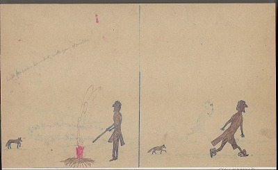 Anonymous Kiowa drawing of story of Saynday running a foot race with a coyote, n.d