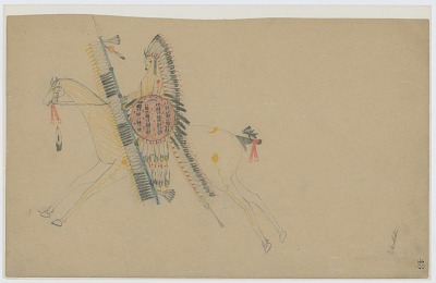 David Pendleton Mounted on Horse, Wearing Feather Bonnet, and Carrying Feathered Lance and Shield 1902-06 Drawing