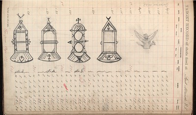 Kiowa drawing, possibly by Silver Horn, of four designs for tie slides, ca. 1884-1897