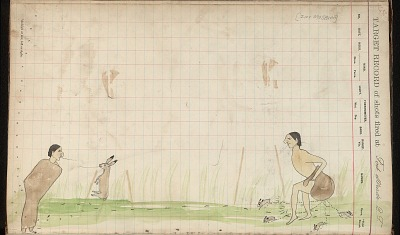 Silver Horn drawing of story of Saynday and the Jack Rabbit, ca. 1884-1897