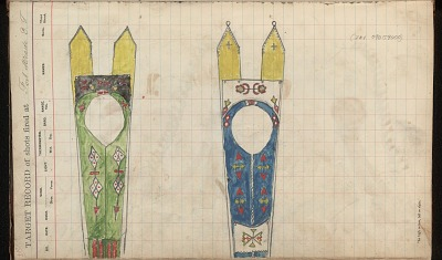 Silver Horn drawing of two beaded cradleboards, ca. 1884-1897