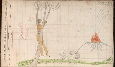 Silver Horn drawing of story of How Saynday Got Caught in a Tree, ca. 1884-1897