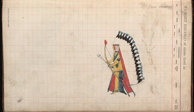Anonymous Kiowa drawing of man wearing headdress and carrying bow and arrows, ca. 1884-1897
