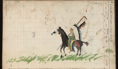 Anonymous Kiowa drawing of mounted man wearing a headdress and carrying a lance, ca. 1884-1897