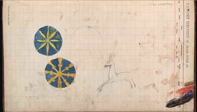 Silver Horn drawing of deer and two medallions, ca. 1884-1897