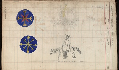 Silver Horn drawing of mounted White man and two medallions, ca. 1884-1897
