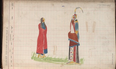 Silver Horn drawing of a man and a woman, ca. 1884-1897
