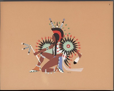 Pochoir print of Spencer Asah drawing of him dancing, 1929
