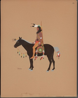 Pochoir print of Stephen Mopope drawing of Kiowa warrior on horseback, 1929