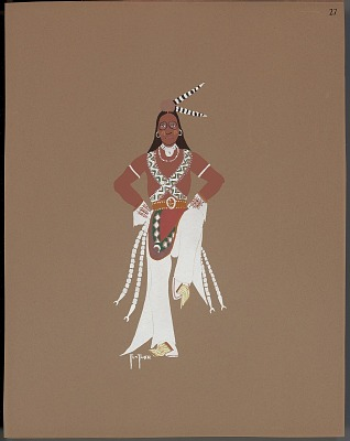 Pochoir print of Monroe Tsatoke drawing of medicine dance, 1929