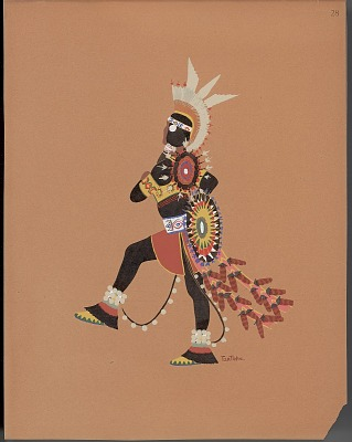 Pochoir print of Monroe Tsatoke drawing of warrior wearing black clothing, 1929