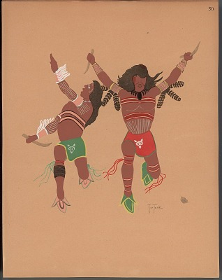 Pochoir print of Monroe Tsatoke drawing of warriors, 1929