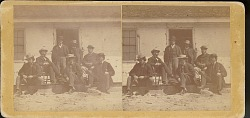 """""""Indian Peace Commission staff at Fort Laramie"""""""