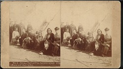 """""""Sitting Bull and his favorite squaw, with officers and their ladies"""""""