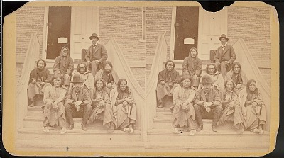 Cheyenne prisoners on the Dodge City, Kansas courthouse steps