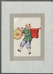 Man with red flag and gong late nineteenth century