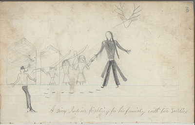 Anonymous drawing, probably Lakota or Cheyenne, of scene of warfare outside buildings, with warrior identified by name glyph, ca. 1876