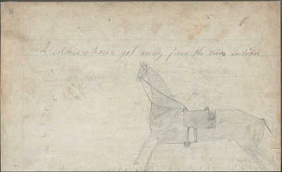 Anonymous drawing, probably Lakota or Cheyenne, of horse raiding scene in two pages with mounted warrior capturing two horses with Western saddles, ca. 1876