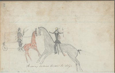 Anonymous drawing, probably Lakota or Cheyenne, of scene, with warrior shown having counted coup on White wagon driver, ca. 1876