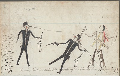 Anonymous drawing, probably Lakota or Cheyenne, of warfare scene, with warrior striking White enemies, having escaped under heavy fire from a tipi camp shown on facing page, ca. 1876