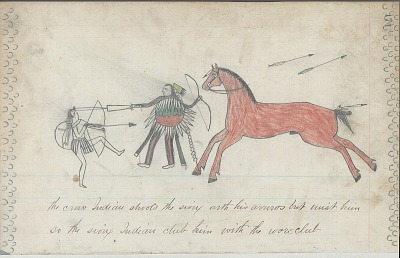 Anonymous drawing, probably Lakota or Cheyenne, of warfare scene, with warrior with shield striking enemy with his quirt, ca. 1876