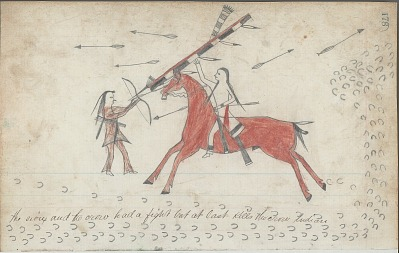 Anonymous drawing, probably Lakota or Cheyenne, of warfare scene, with warrior on horseback striking enemy with a society lance, ca. 1876