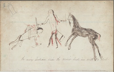 Anonymous drawing, probably Lakota or Cheyenne, of warfare scene, with warrior dismounted to strike fallen enemy with butt of his gun, ca. 1876