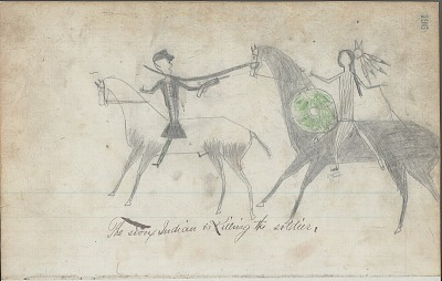 Anonymous drawing, probably Lakota or Cheyenne, of warfare scene, with warrior with shield striking Army soldier with sabers, ca. 1876