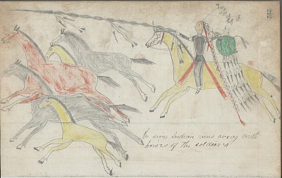Anonymous drawing, probably Lakota or Cheyenne, of horse raiding scene, with warrior with shield identified by name glyph driving off herd, ca. 1876
