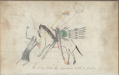 Anonymous drawing, probably Lakota or Cheyenne, of warfare scene, with warrior identified by name glyph with shield striking a woman with his lance, ca. 1876