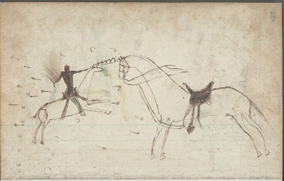 Anonymous drawing, probably Lakota or Cheyenne, of warfare scene, with a warrior claiming a riderless horse by touching it with his quirt, ca. 1876