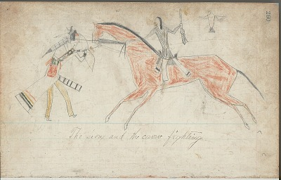 Anonymous drawing, probably Lakota or Cheyenne, of warfare scene, with warrior identified by name glyph striking enemy, ca. 1876