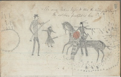 Anonymous drawing, probably Lakota or Cheyenne, of warfare scene, with warrior with shield attacking White man and woman near wagons, ca. 1876