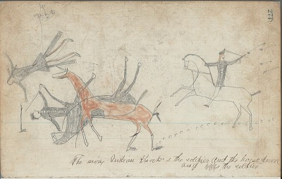 Anonymous drawing, probably Lakota or Cheyenne, of warfare scene, with warrior identifed by name glyph falling during battle, ca. 1876