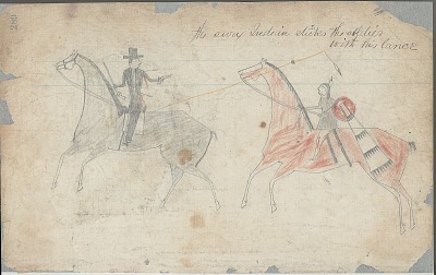 Anonymous drawing, probably Lakota or Cheyenne, of warfare scene, with warrior with shield striking White enemy, ca. 1876