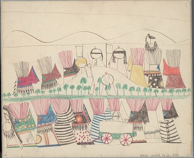 Anonymous Cheyenne drawing of village scene with two rows of painted tipis set in landscape with hills and trees, several shields on display, and wagon in foreground, ca. 1875-1878