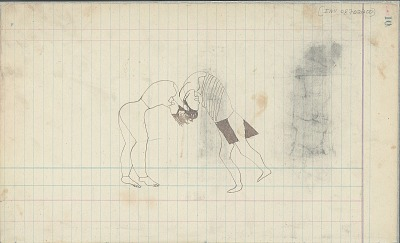 Yellow Nose drawing of two men wrestling, ca. 1889