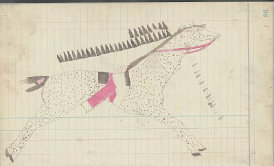 Yellow Nose drawing of warrior in feather warbonnet on horseback, ca. 1889